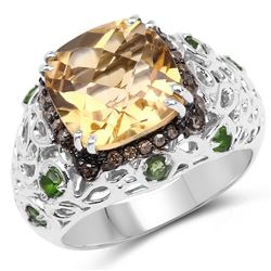 STERLING SILVER CITRINE, CHROME DIOPSIDE AND CHAMPAGNE DIAMOND RING