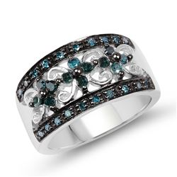 STERLING SILVER BLACK AND BLUE DIAMOND RING