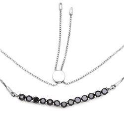 STERLING SILVER BLACK DIAMOND NECKLACE