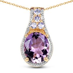STERLING SILVER AMETHYST AND TANZANITE PENDANT