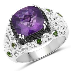 STERLING SILVER AMETHYST, CHROME DIOPSIDE AND DIAMOND RING