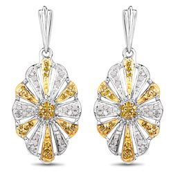 STERLING SILVER WHITE AND YELLOW DIAMOND EARRINGS