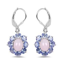 STERLING SILVER PINK OPAL AND TANZANITE EARRINGS