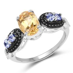 STERLING SILVER CITRINE AND TANZANITE RING