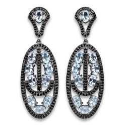STERLING SILVER BLUE TOPAZ AND BLACK SPINEL EARRING