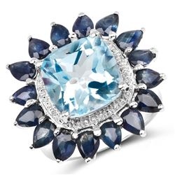 STERLING SILVER BLUE TOPAZ AND BLUE SAPPHIRE RING