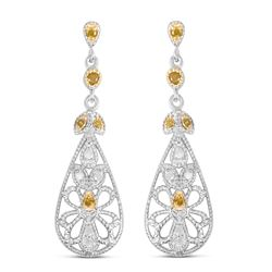 STERLING SILVER YELLOW AND WHITE DIAMOND EARRINGS