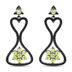 STERLING SILVER PERIDOT AND BLACK SPINEL EARRINGS