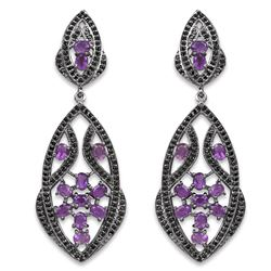 STERLING SILVER AMETHYST AND BLACK SPINEL EARRINGS