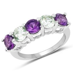 STERLING SILVER GREEN AND PURPLE AMETHYST RING