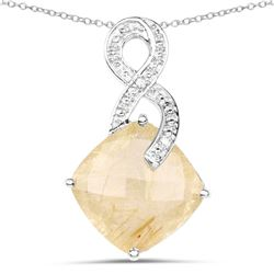 STERLING SILVER GOLDEN RUTILE AND DIAMOND PENDANT