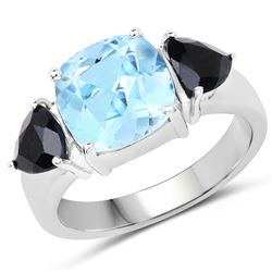 STERLING SILVER BLUE TOPAZ AND BLACK SAPPHIRE RING