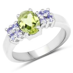 STERLING SILVER PERIDOT AND TANZANITE RING