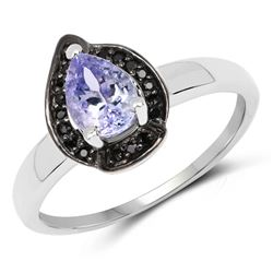 STERLING SILVER TANZANITE AND BLACK SPINEL RING