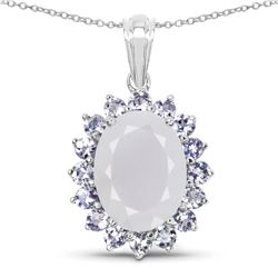 STERLING SILVER BLUE CHALCEDONY AND TANZANITE PENDANT