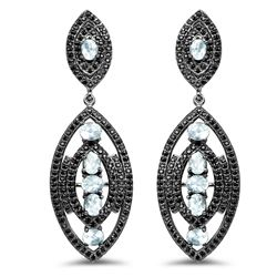 STERLING SILVER BLUE TOPAZ AND BLACK SPINEL EARRINGS