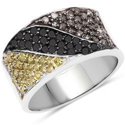 STERLING SILVER BLACK AND CHAMPAGNE DIAMOND RING