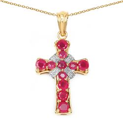 STERLING SILVER RUBY CROSS PENDANT