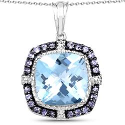 STERLING SILVER BLUE TOPAZ AND TANZANITE PENDANT