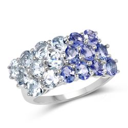 STERLING SILVER TANZANITE AND AQUAMARINE RING