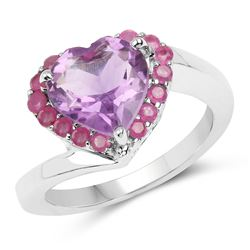STERLING SILVER AMETHYST AND RUBY RING