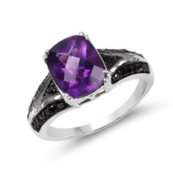 STERLING SILVER AMETHYST, BLACK AND WHITE DIAMONDS