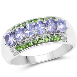 STERLING SILVER CHROME DIOPSIDE AND TANZANITE RING