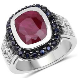 STERLING SILVER RUBY AND BLUE SAPPHIRE RING
