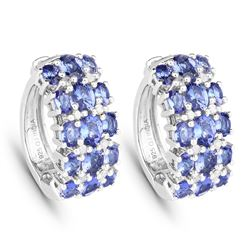 STERLING SILVER TANZANITE AND DIAMOND EARRINGS