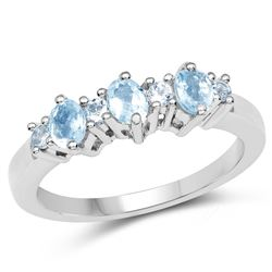 STERLING SILVER AQUAMARINE AND BLUE TOPAZ RING