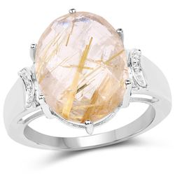 STERLING SILVER GOLDEN RUTILE RING