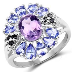 STERLING SILVER AMETHYST, TANZANITE AND BLACK SPINEL RING