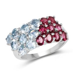 STERLING SILVER RHODOLITE AND BLUE TOPAZ RING