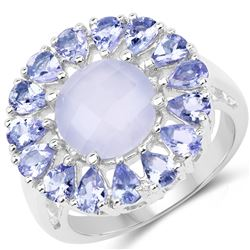STERLING SILVER BLUE CHALCEDONIA AND TANZANITE RING