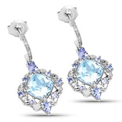 STERLING SILVER BLUE TOPAZ AND TANZANITE EARRINGS