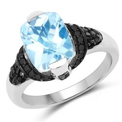 STERLING SILVER BLUE SWISS TOPAZ AND BLACK DIAMOND RING