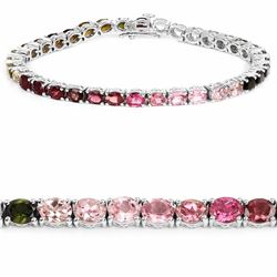 STERLING SILVER MULTI COLOR TOURMALINE BRACELET