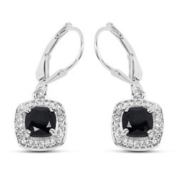 STERLING SILVER BLACK SPINEL AND WHITE TOPAZ EARRINGS