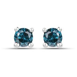 STERLING SILVER BLUE DIAMOND EARRINGS