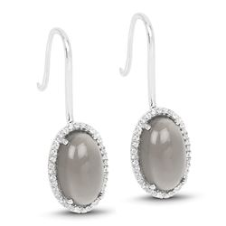 STERLING SILVER GREY MOONSTONE AND WHITE TOPAZ EARRINGS