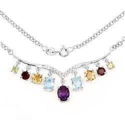 STERLING SILVER MULTI GEM NECKLACE