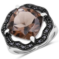 STERLING SILVER SMOKY QUARTZ AND BLACK SPINEL RING