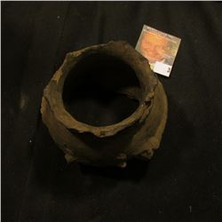 A Killed jar from a prehistoric pueblo, cord-like corrugation below neck and partially around belly,
