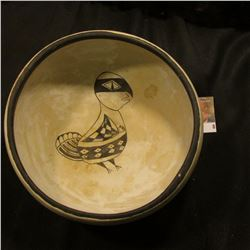 Most likely a Mimbres Style Pottery Reproduction Bowl? Off-white Bowl with black trim depicting a fi