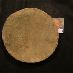 "Native American Thick Clay plate of unknown provenance. Definitely ancient. 6 1/8"" x 3/4""."