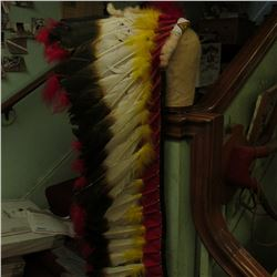 Long Indian Chief Feathered Headdress. Beaded front band. At least 40-50 years old. Quite attractive