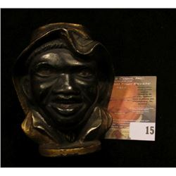 """Afro-American Painted Brass Bank. 3"""" tall."""