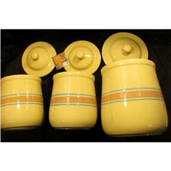 """Three-Piece Set of """"McCoy"""" Stoneware Pottery. No. 135. Minor use chips of two of the lids. 'Doc' ori"""