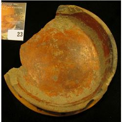 Unusual Pre-Columbian Pottery Fragment, Brown ware with Hohokaman style design around rim. This may