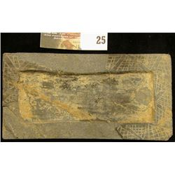 Rectangular Slate object with zig-zag border and interior frame which may have had an inset at one t